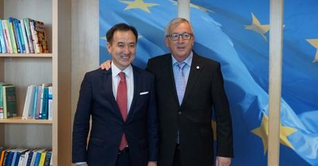 EUROPEAN COMMISSION PRESIDENT JEAN-CLAUDE JUNCKER RECEIVES MR. DAMDIN TSOGTBAATAR, MINISTER OF FOREIGN AFFAIRS OF MONGOLIA.